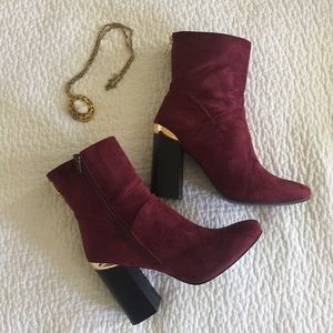 Glam ASOS cranberry ankle boots with gold accents